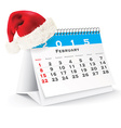 February 2015 desk calendar with Christmas hat vector image vector image