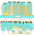 city and forest landscape vector image