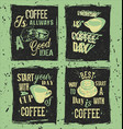 set of retro coffee grunge posters vector image