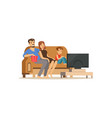 young family watching tv with little boy people vector image