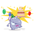 Cute Elephant Walking With Birthday Cake vector image