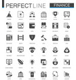 black classic web finance money web icons set vector image