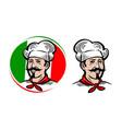 chef logo italian food pizza restaurant menu vector image