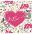 Floral valentines day card with cute koala bears vector image