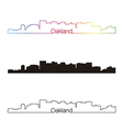 Oakland skyline linear style with rainbow vector image