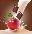 milk and an apple and chocolate vector image vector image