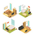 flat rooms isometric interiors vector image
