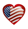 heart love with usa flag vector image