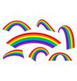 rainbow set rainbow arch different styles vector image