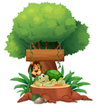 A turtle and a lion under the tree with a wooden vector image vector image