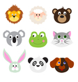 Animal Faces Set vector image