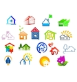 Colorful real estate and house icons vector image vector image