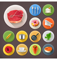 Kitchen and Cooking long shadow icon set vector image