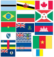 set of 16 flags of countries started with b and c vector image