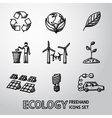 Set of handdrawn ECOLOGY icons - recycle sign vector image