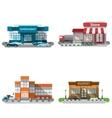Shop Buildings Icons Set vector image