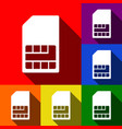 sim card sign set of icons with flat vector image