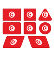 buttons with flag of Tunisia vector image