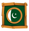 pakistan flag on round frame vector image vector image