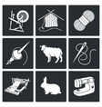 Wool knitting Icons Set vector image