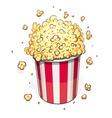 Popcorn in striped basket vector image vector image