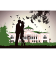 couple kissing near the old house in the middle of vector image