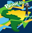 Brasil 2016 country map in 3d and statue of Jesus vector image