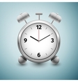 Classic silver alarm clock icon isolated on blue vector image