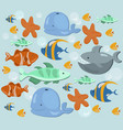 fish ocean summer pattern blue color vector image