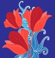 Graphic bouquet of red tulips on a blue vector image
