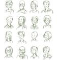 Hand Drawn Portraits Set vector image