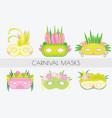 set of carnival masks masquerade masks in flat vector image