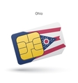 State of Ohio phone sim card with flag vector image