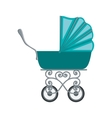traditional baby carriage with blue soft top vector image