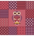 Seamless patchwork owl pattern 3 vector image