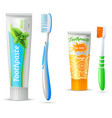 Toothpaste And Toothbrush For Kids And Adults vector image