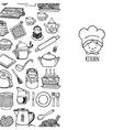 Kitchen utensils and appliance vertical banner vector image