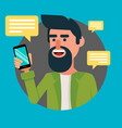 bearded man with smartphone hipster guy vector image