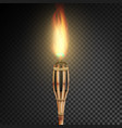 burning beach bamboo torch with flame realistic vector image