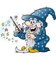 Cartoon of a Happy Old Wizard Magic Man holding a vector image