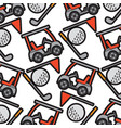 golf club car sport and flag ball seamless pattern vector image