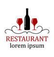 restaurant background with wine glass and bottle vector image