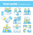 teamwork set of line icons vector image
