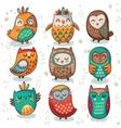 Tribal owl set vector image