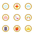 wedding party icons set cartoon style vector image