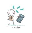 cashier counts money on calculator vector image
