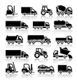 Set of truck black icons vector image vector image