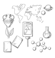 Education and science sketch icons vector image vector image