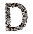 floral font D vector image