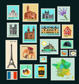 france travel stamps vector image